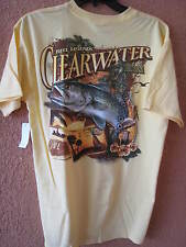 REEL LEGENDS MEN'S MED YELLOW CLEARWATER,FL T-SHIRT (NWT) SHORT SLEEVE