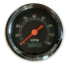 """Tachometer, programmable, 3-3/8""""/86mm,8K RPM,LED light, black/chrome, 043-TA-BC"""