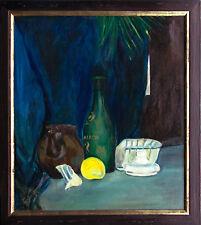 Ewa Kawalko Polen: 1931 Stilleben mit Zitrone und Flasche Ölgemälde 53 x 46 cm