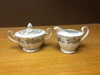 Noritake 5047 LAURETTE Footed Creamer & Sugar Bowl w/Lid - Excellent
