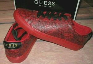 MENS GUESS BARETTE RED SNAKE PRINT SNEAKERS SHOES SIZE 8.5