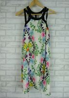 LIVING DOLL Dress Sz 14 White, Black, Blue, Green Print