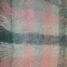 Vintage Craig-Na-Creidhe Scotland Scarf Mohair & Wool Pink White Gray Plaid
