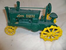 Vintage Cast Iron John Deere OP Farm Tractor ~ Green/Yellow ~ Nice Condition!