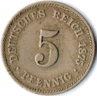 COIN / GERMAN EMPIRE / 5 PFENNIG, 1875   #WT3081