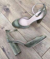 JCrew $248 Lena Ankle-Strap Pumps in Glitter 7.5 Gold Silver Black F8496 SOLDOUT