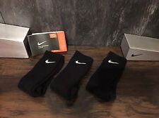 NEW Mens Nike Crew Socks LOWEST Price 3prs Cotton Black Authentic FREE Ship 8-12