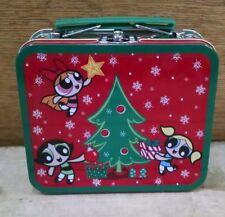 Rare Powerpuff Girls Tin Metal Small Holiday Christmas Lunchbox