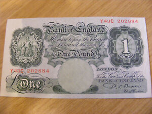 Green One Pound Banknote P S Beale Y43C 202884, UNC very crisp nice note