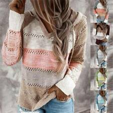 Womens Knitted Color Block Sweater Ladies Hoodie Hooded Jumper Pullover Top Size