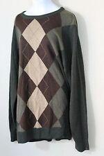 Dockers Green Argyle Sweater XL Brown Lightweight Crewneck Acrylic EUC