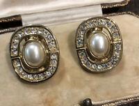 Vintage Designer Faux Pearl Diamanté Clip On Earrings