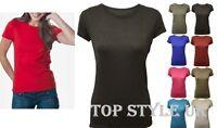 Ladies Cap Sleeve Plain Women 100% Cotton Slim Fitted  Crew Neck Basic T-Shirt