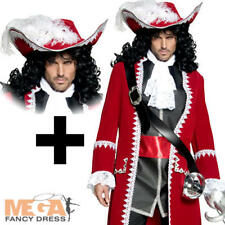 Deluxe Captain Pirate + Wig + Hat Fancy Dress Halloween Mens Adults Costume New