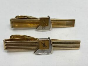2 Vintage Electrical Workers Service Award Tie Bar Clasps 12k 1/20 GF & 10K