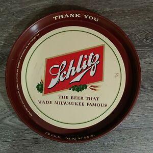 Schlitz Beer Tray Milwaukee Famous Wisconsin & Brooklyn NY Globe Thank You