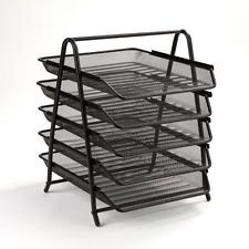 5 Tier Sliding Tray Desk Organizer / Letter Paper Organizer Tray / Black Mesh