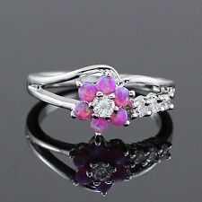Delicate Silver Plated Purple Fire Opal & Simulated Diamond Flower Ring Size 7