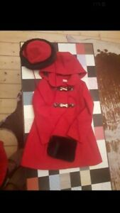 spanish style coat age 4 red with fur hat and hand muff traditional retro