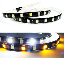 2x WHITE AMBER 18 SMD LED Daytime Running Turn Signal Light Switchback Strip Bar