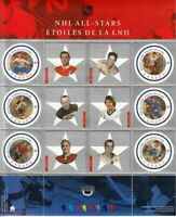 NHL = ALL STARS-2 = HOCKEY = Miniature sheet of 6 stamps Canada 2001 #1885 MNH