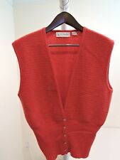Evan Picone Lambswool & Angora Rabbit Hair Blend Red Sleeveless Cardigan - Sz-L
