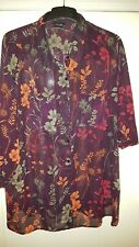 LADIES PURPLE FLORAL TUNIC SMOCK TOP YOURS CLOTHING Size 20