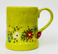 Tabletops Unlimited ESPANA PASHA Green Red Roses Flowers Hand Painted Mug