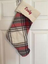 "NWT Pottery Barn Hamilton Plaid Christmas stocking Red Ivory, Mono, ""Emily"""