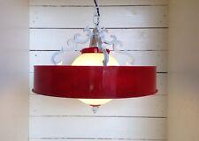 Midcentury Art Deco Ceiling Fixture *AMAZING* Pendant White Red Eames Era Danish