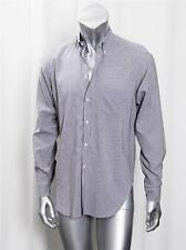 GIORGIO ARMANI LE COLLEZIONI Mens Blue+Brown Striped Button-Down Dress Shirt 39