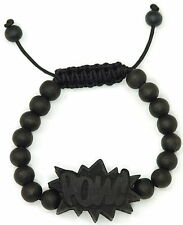 POW Bracelet New Natural Good Wood Style Adjustable Macrame With 10mm Wood Beads