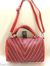 NEW-DS RED CROC LEATHERETTE+CRYSTAL+BLACK STUDS,SATCHEL,PURSE,BAG+CROSSBODY