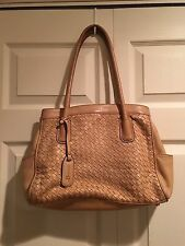 B. Makowsky Tan Leather Woven Tote Handbag Shoulderbag