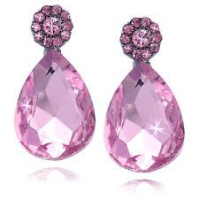 Pink Flower Dangle Teardrop Prom Party Stud Post Earrings Women Jewelry e3001p