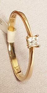 9CT GOLD 0.10CT DIAMOND SOLITAIRE RING Size available P