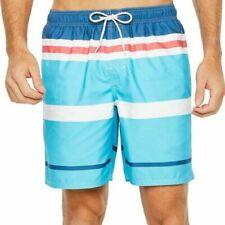St. John's Bay Men's Swim Trunks Shorts Blue Strip Size XX-Large NWT