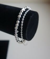 Silver plated handmade double bracelet with hematite and hearts