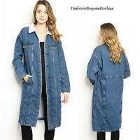 Denim Fleece Faux Lamb Shearling Sherpa Outerwear Maxi Long Jacket Coat S M L XL