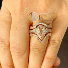 14K ROSE GOLD PEAR NATURAL MORGANITE AND DIAMOND ENGAGEMENT RING AND BANDS 4.0CT