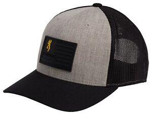 Browning Recon Flag Snap Back Black Gray Baseball Hat Mesh Back 308033691