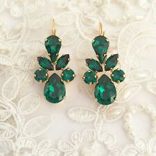 Teardrop Emerald Green Gold Earrings Made With CRYSTALLIZED™ Swarovski Elements