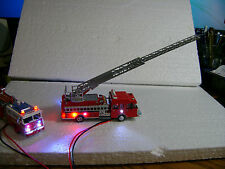 Ho scale arial ladder fire truck with multiple Led's