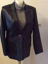 Denim & Co. Womens Soft Lightweight Leather Jacket/Blazer Black Size XL
