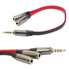 3.5mm Y Splitter 2 Jack Male to 1 Female Headphone Audio Adapter Cable 20cm UK