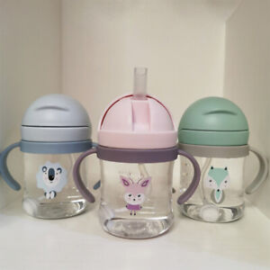 Baby Cups with Straw Bottle Drinking Water Kids Sippy Cup Handle Toddler Feeding
