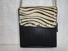 Leather Zebra Print and Rhinestone Shoulder Bag Purse