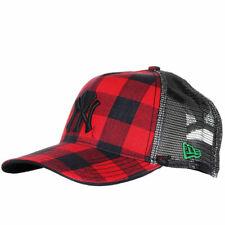 Mens New Era Fits NY Yankees Red Check Tartan Mesh Trucker Baseball Cap Size