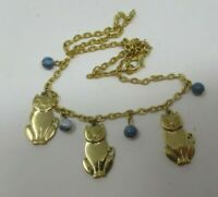 Cat Dangle NECKLACE Blue Beaded Gold Tone EUC 18 Inches
