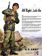 ADVERTISING 1951 US ARMY KOREAN WAR RECRUITMENT NEW ART PRINT POSTER CC2701